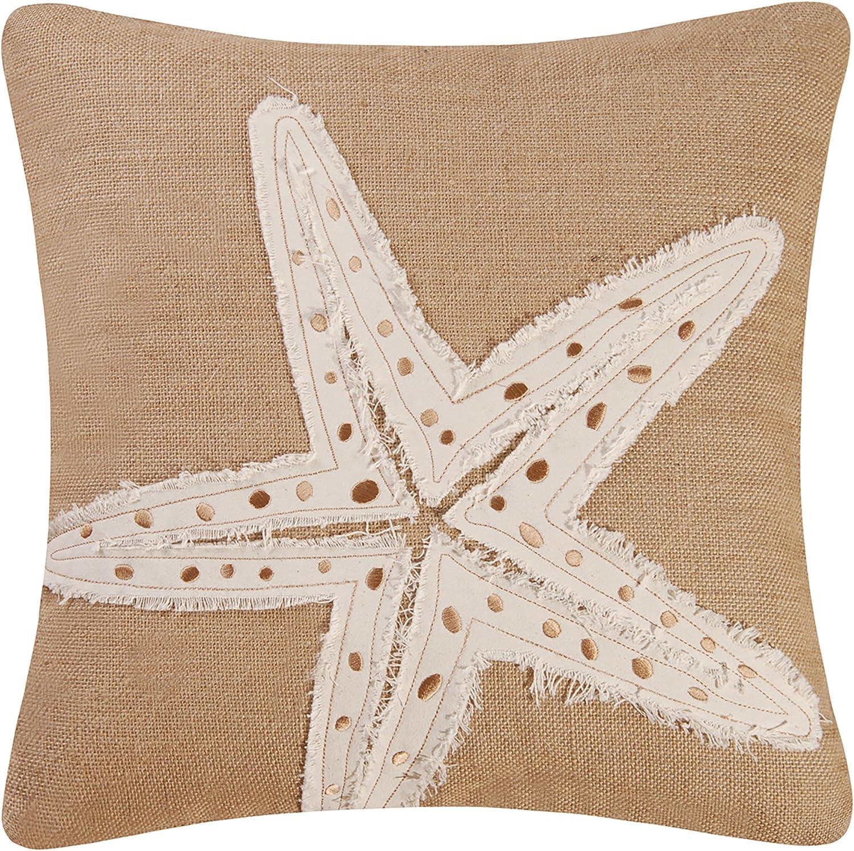 C&F Home Starfish Burlap Pillow 18 x 18 Natural/White