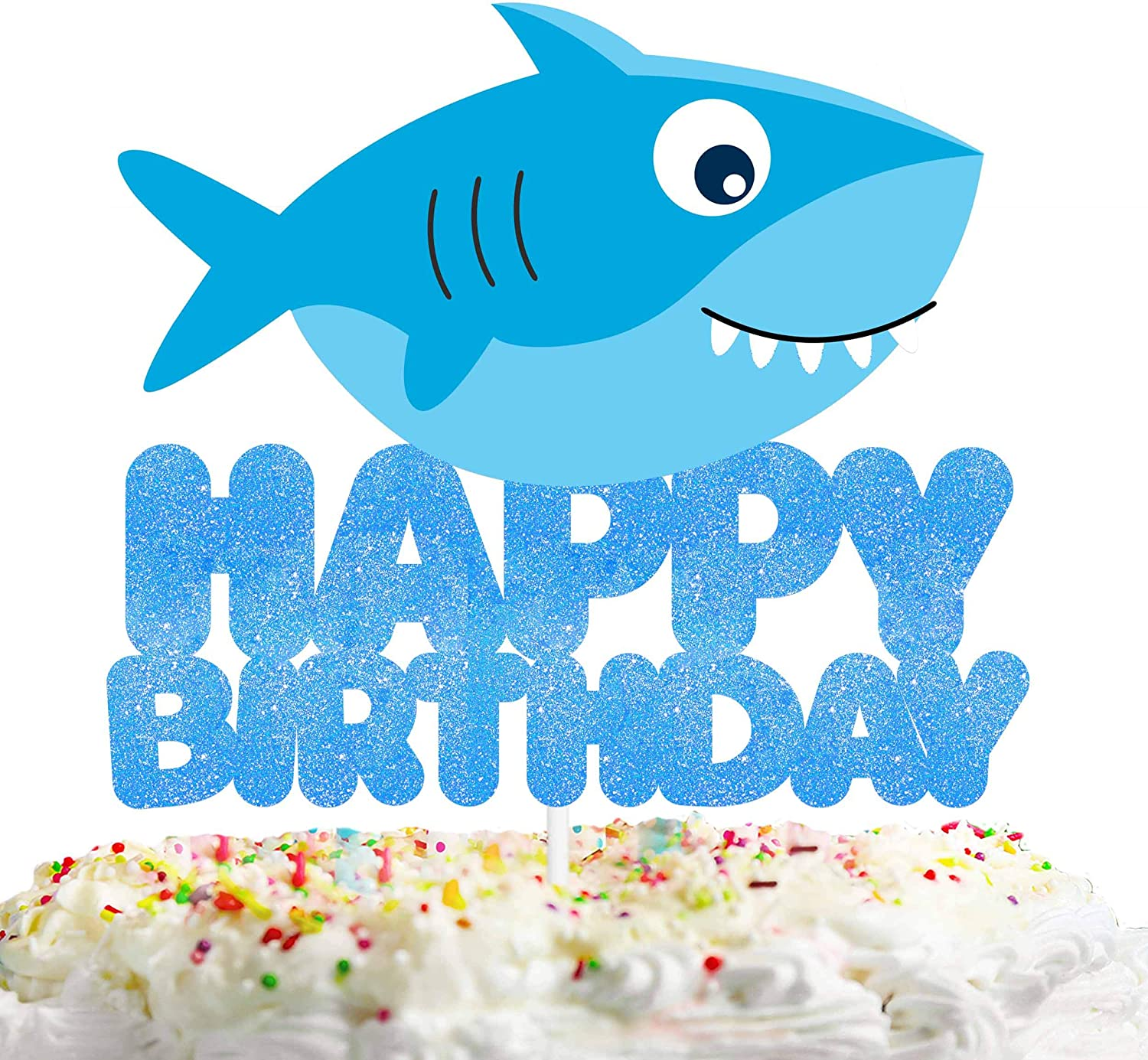 Shark Happy Birthday Cake Topper Decorations for Ocean Theme Picks for Baby Shower Party Decor Supplies