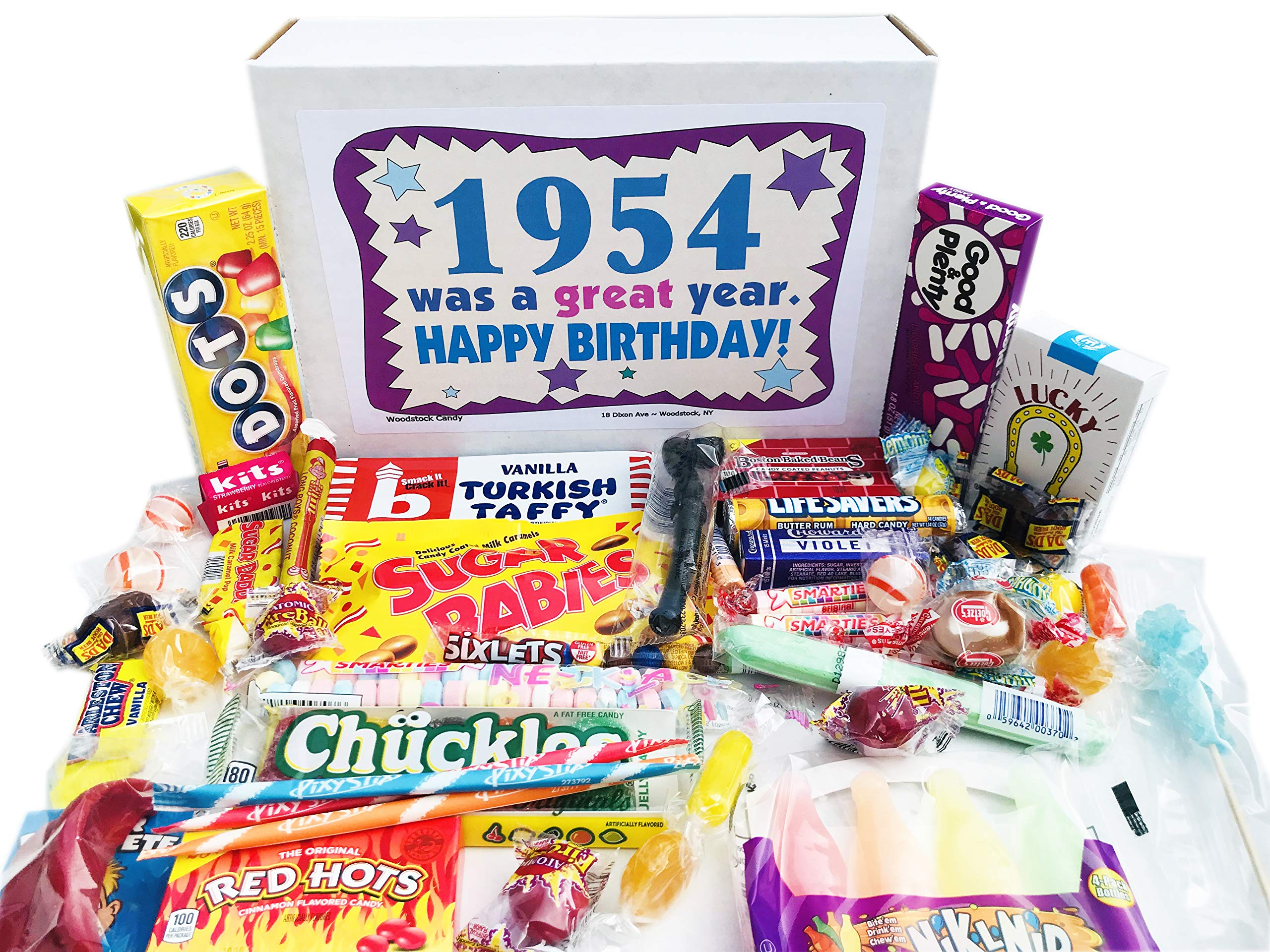 Woodstock Candy ~ 1954 65th Birthday Gift Box of Retro Vintage Candy Assortment from Childhood for 65 Year Old Man or Woman Born 1954 Jr