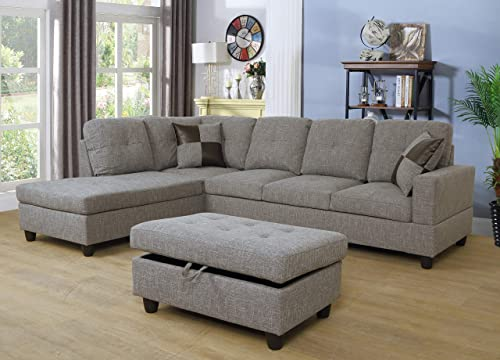 Ainehome Linen 3 Piece Sectional Sofa Couch Set, L-Shaped Modern Sofa with Chaise Storage Ottoman and Pillows for Living Room Furniture, Left Hand Facing Sectional Sofa Set Melang Gray