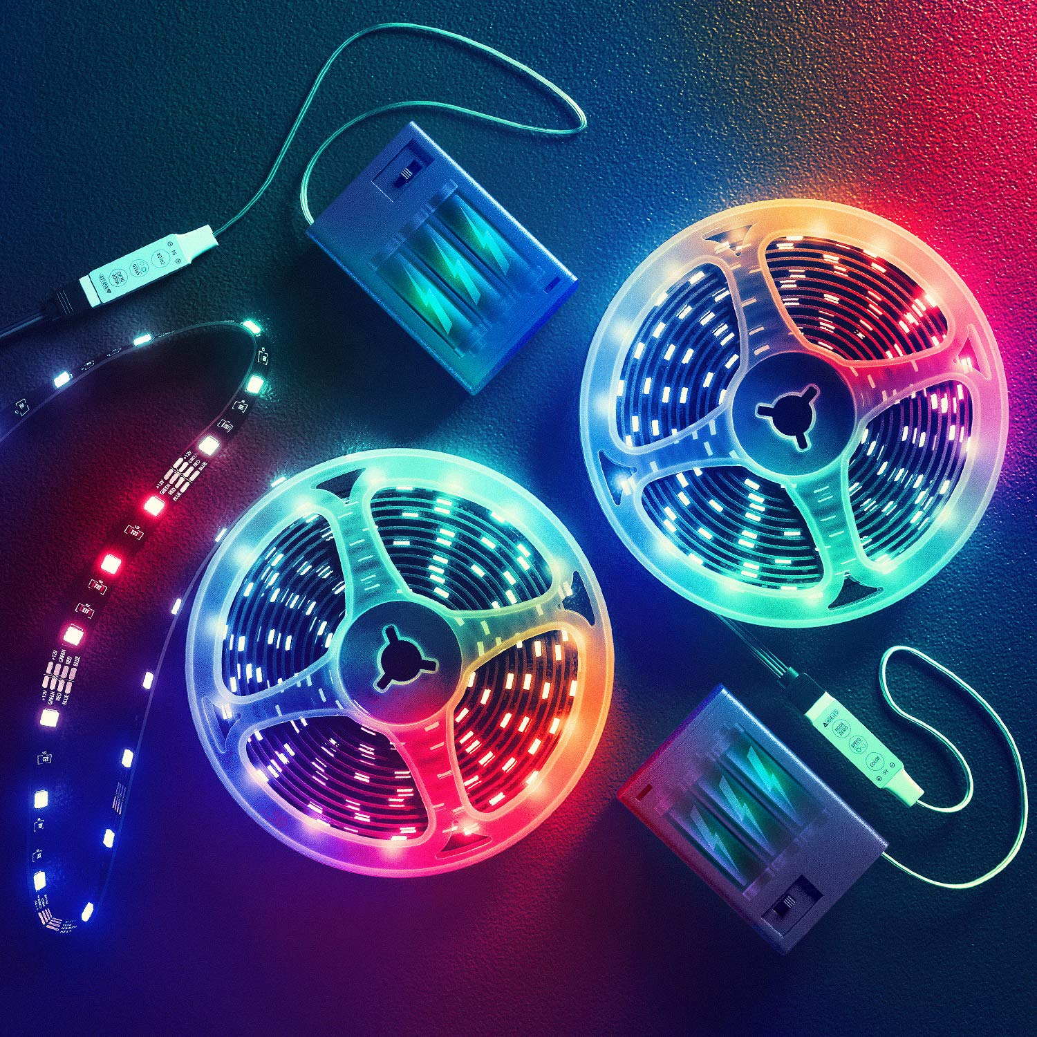 13.2 Feet Battery Powered Led Strip Lights,DIY Color Changing Led Lights Battery Operated. Integrated Controller for Bedroom, Sports,Outdoors, Party,Costume and Dress up (13.2 Feet)