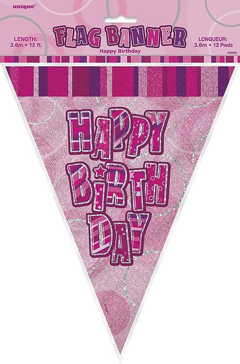 Amazon.com: 12 ft Foil Glitz rosa banderines de cumpleaños ...