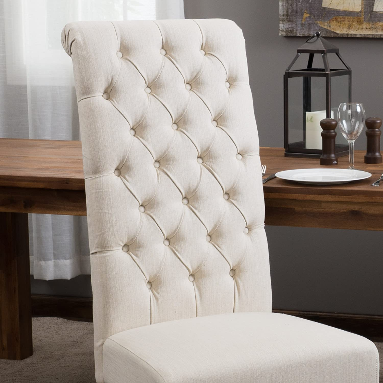 Amazon Best Selling Natural Tall Tufted Dining Chair 2 Pack