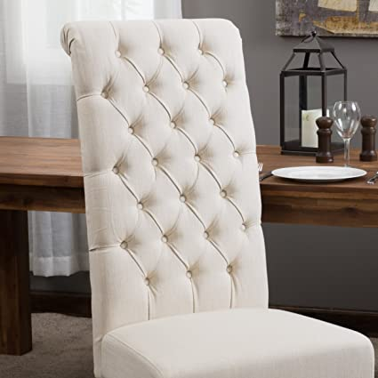 Best Selling Natural Tall Tufted Dining Chair, 2 Pack
