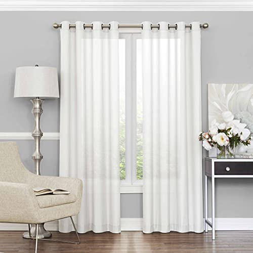 ECLIPSE Sheer Curtains for Bedroom – Liberty 52 x 108 Light Filtering Grommet Top Single Window Panel Curtain Living Room, White