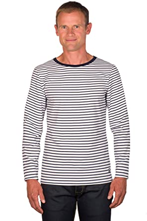 3d8d41de1f UGHOLIN Men's Breton Stripe Cotton Printed Long Sleeve T-shirt - S White