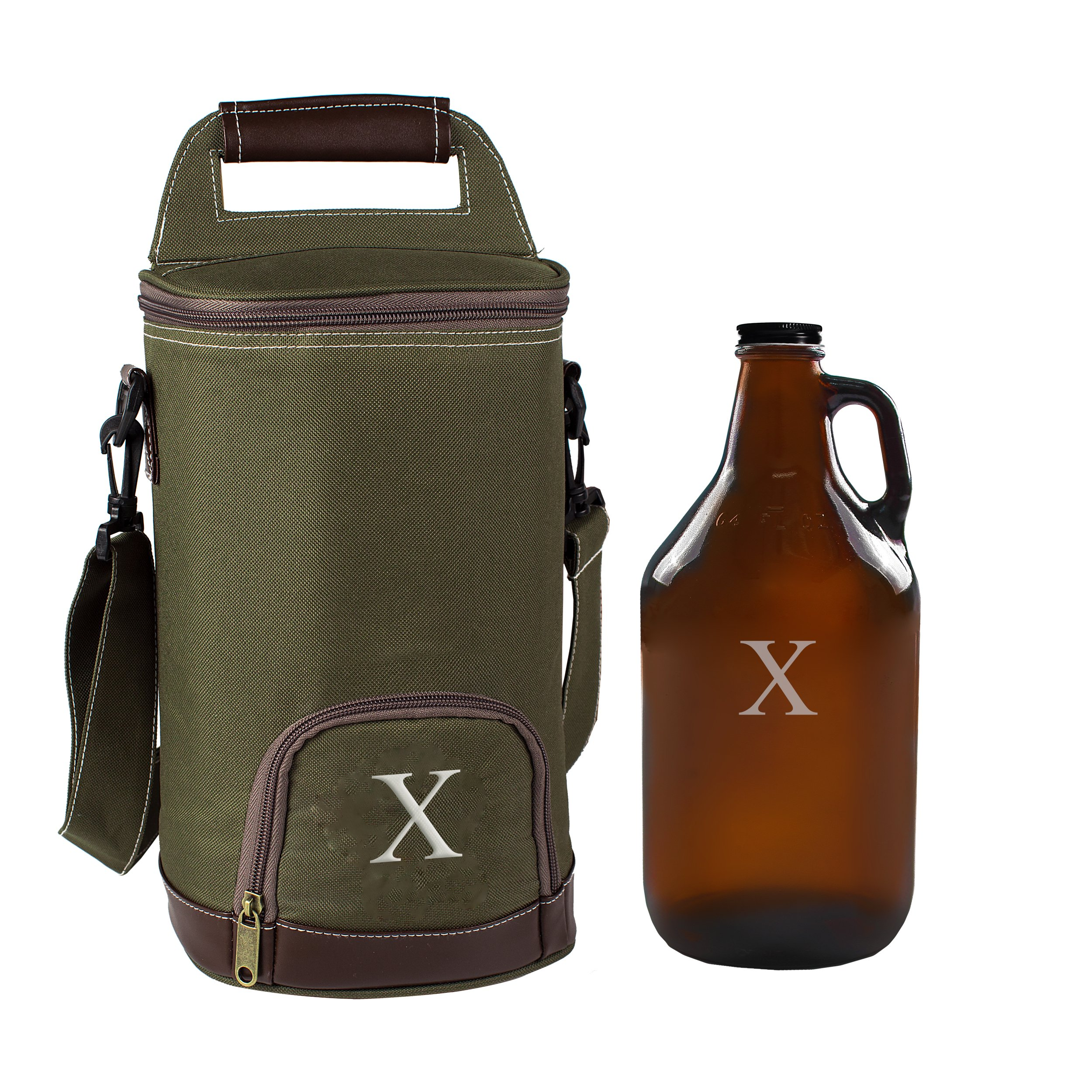 Cathy's Concepts Personalized Insulated Growler Cooler with Amber Growler, Monogrammed Letter X