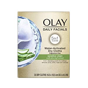 Makeup Remover Wipes by Olay Daily Facials Gentle Clean 5-in-1 Water Activated Cleansing Cloths, 33 count Packaging may Vary
