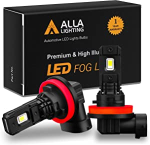Alla Lighting Xtremely Super Bright LED Lights Bulbs SM1 Vision 3000 Lumens LED Fog Lights Daytime Running Light Bulbs Replacement, H16/H11/H8 6000K Xenon White