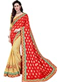 Manohari Women's Viscose Georgette Saree with Blouse Piece(MN343_Red and Turquoise_Free Size)