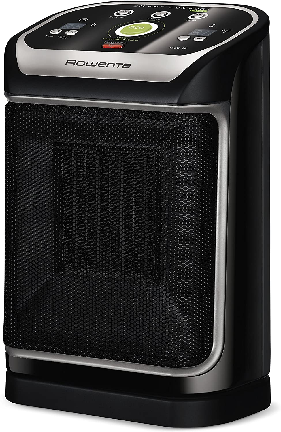 Amazon Com Rowenta So9276 Silent Comfort Electronic Ceramic Heater With Eco Mode 215 Square Ft Black Home Kitchen