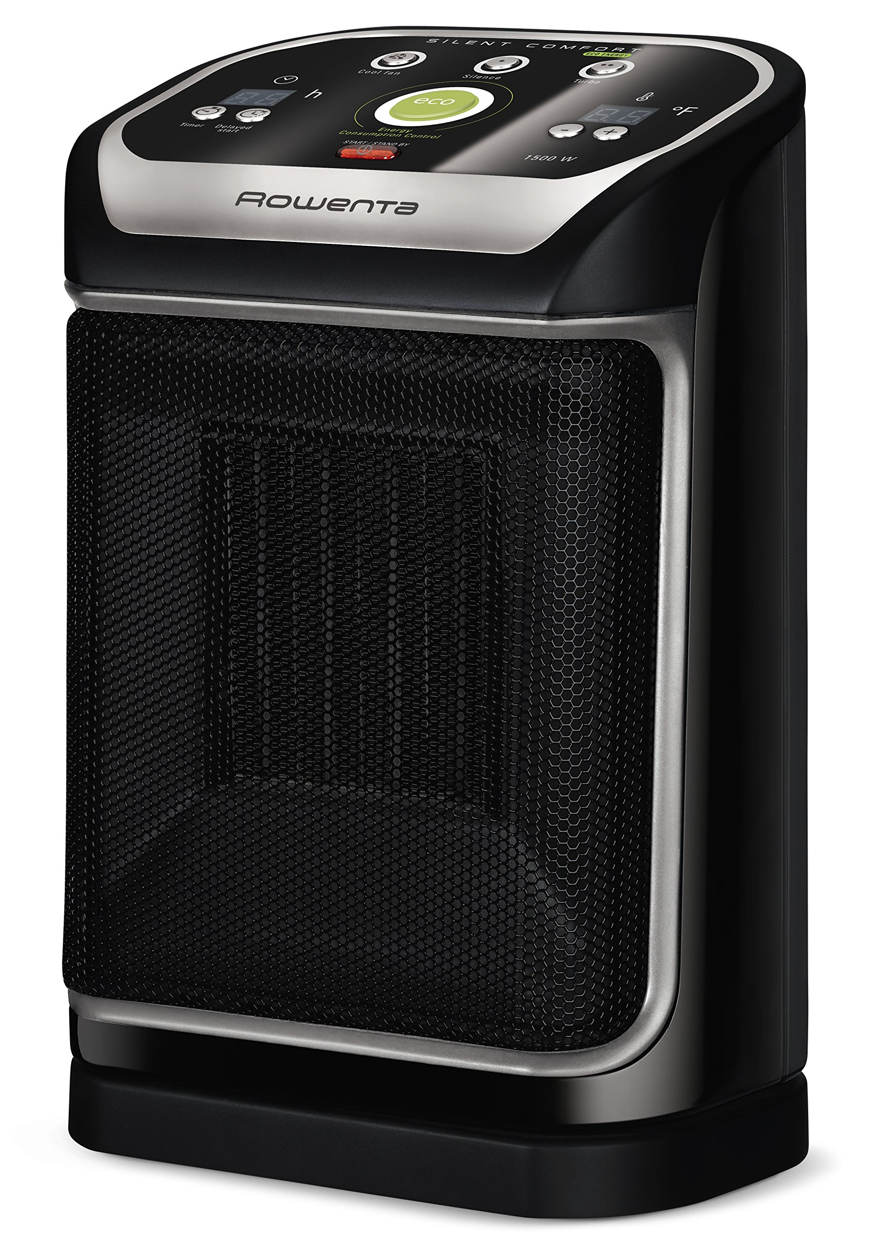 Rowenta SO9276 Silent Comfort Electronic Ceramic Heater with Eco-Mode, 270-Square Ft, Black
