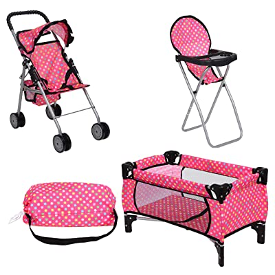 fash n kolor Doll Play Set 3 in 1 Doll Set, 1 Pack N Play. 2 Doll Stroller 3.Doll High Chair. Fits Up to 18'' Doll (Polka DOT): Toys & Games