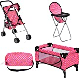 fash n kolor Doll Play Set 3 in 1 Doll Set, 1 Pack N Play. 2 Doll Stroller 3.Doll High Chair. Fits Up to 18'' Doll (Polka DOT