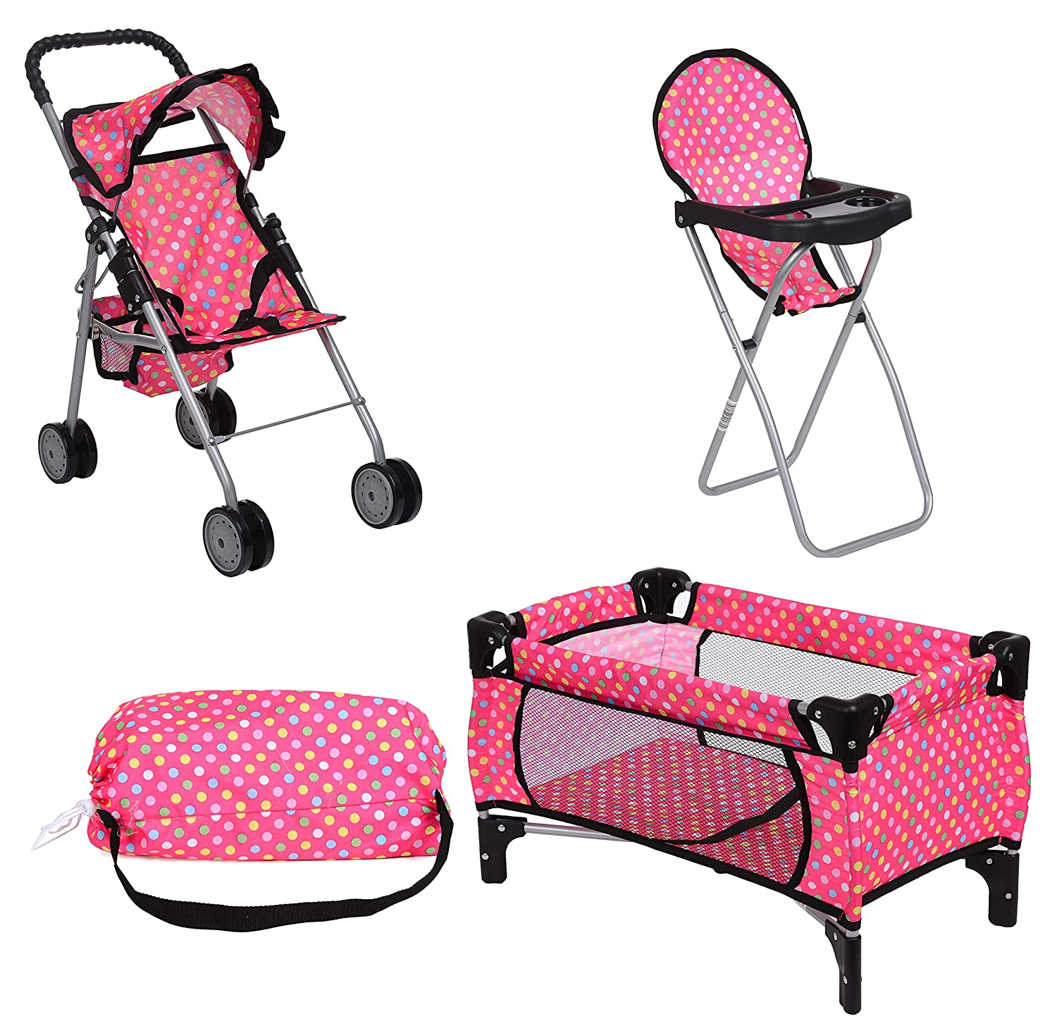 Exquisite Buggy Doll Play Set 3 in 1 Doll Set, 1 Pack N Play. 2 Doll Stroller 3.Doll High Chair. Fits Up to 18'' Doll