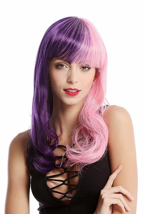 WIG ME UP ® - GF-W2301-STEP20+T2311 Peluca mujer larga rizada flequillo mitad color morada mitad rosa: Amazon.es: Belleza