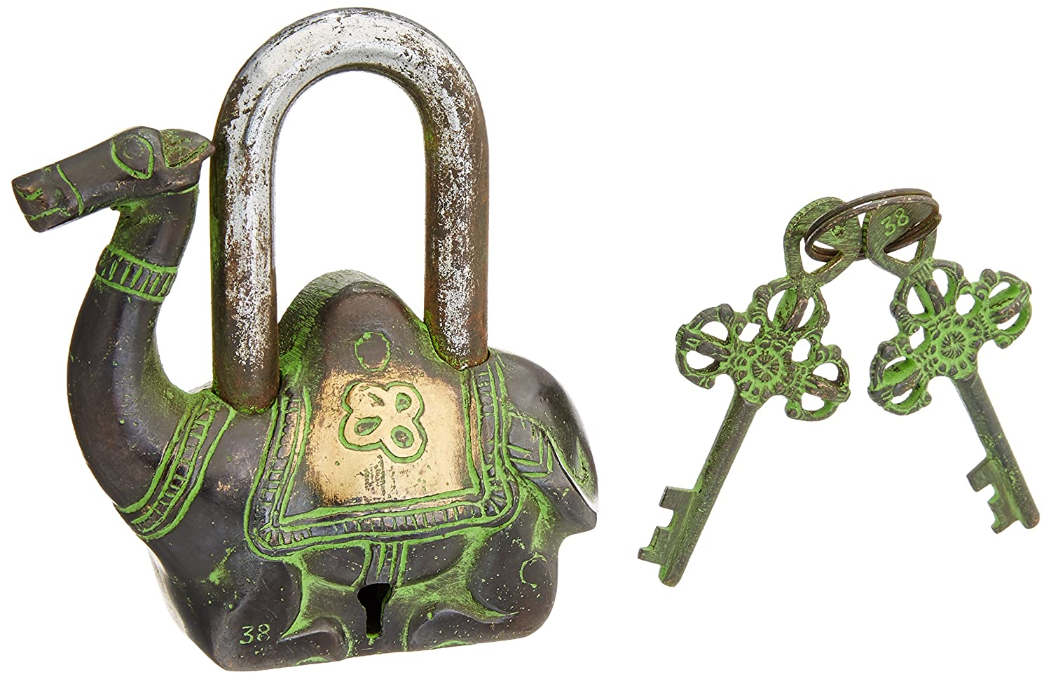 Exotic India Camel Shape Antique Green Look Functional Metal Pad Lock with 2 Keys