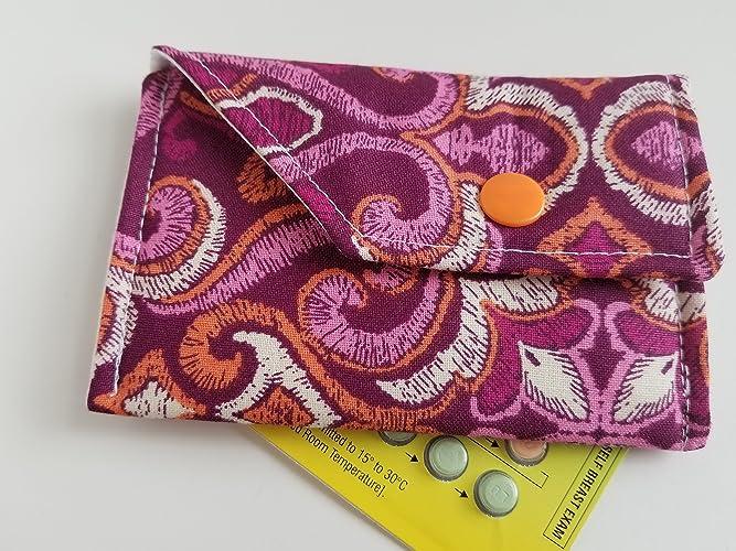 Birth Control Pill Case Sleeve Purple paisley