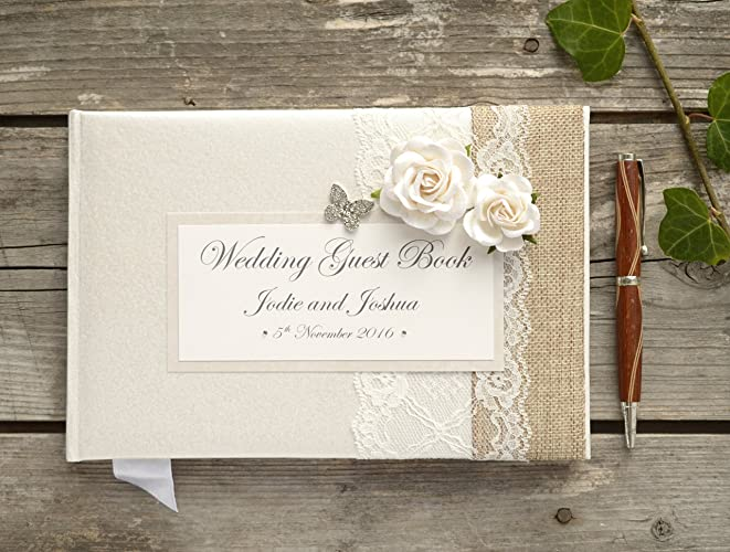 Personalised Wedding Guest Book - Luxury Vintage Style Rose, Lace ...