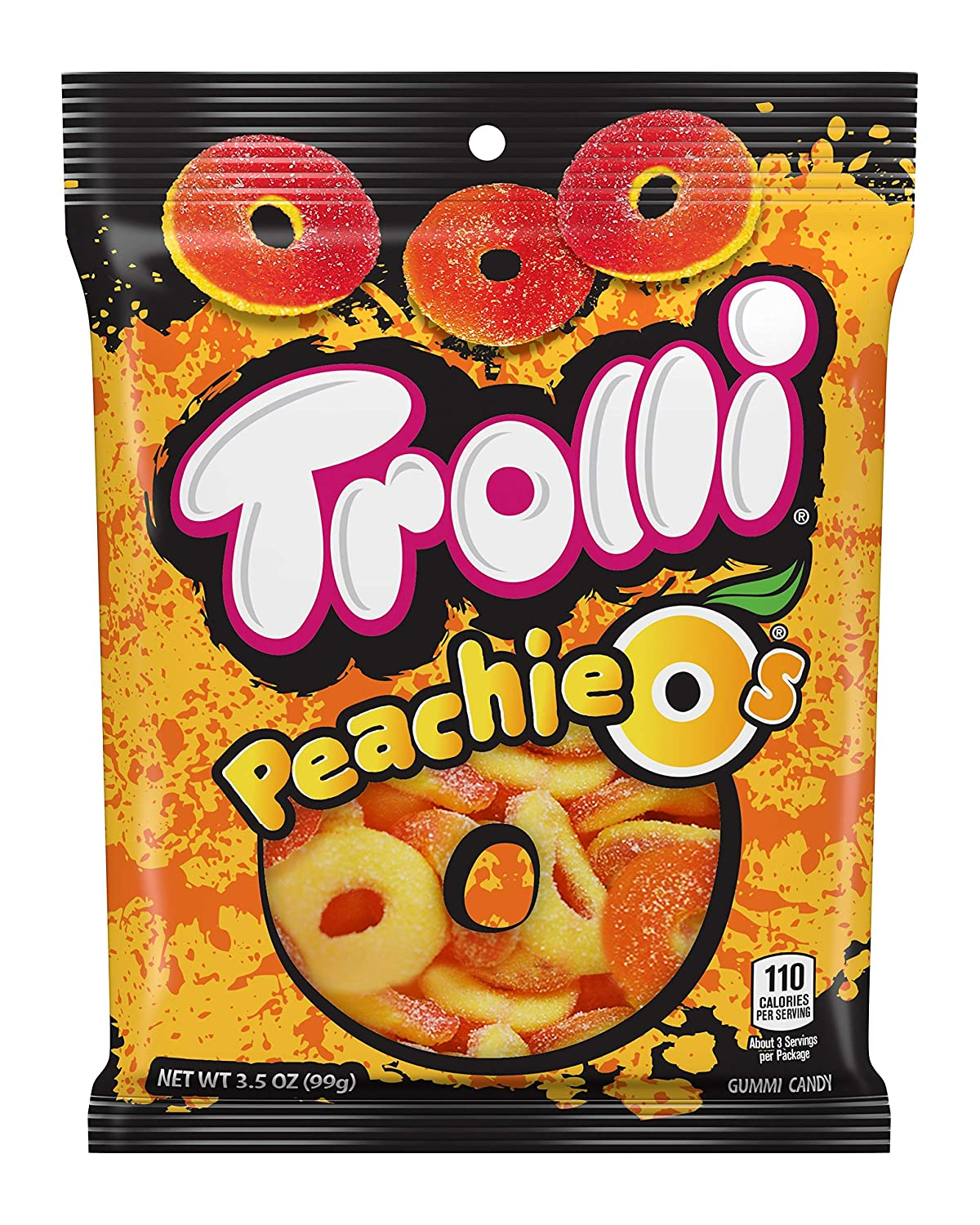 Trolli Peachie O's Sour Gummy Rings Candy, 4.25 Ounce, Pack of 12