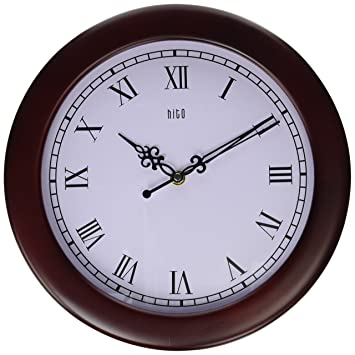 hito 12 inches silent non ticking wall clock w wood frame and acrylic front
