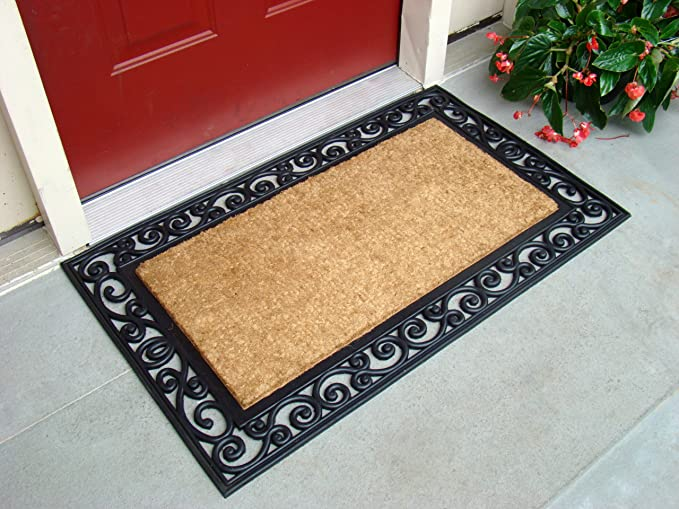 Kempf Inlaid Scroll Coco Doormat 24 By 39 By 0 5 Inch Home Kitchen