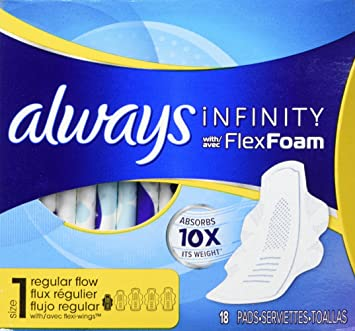 Always Infinity Sanitary Pads - Regular, 18 count