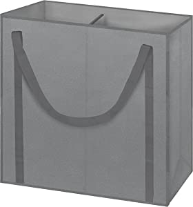 Arm & Hammer Two-Compartment Laundry Hamper Tote, Grey