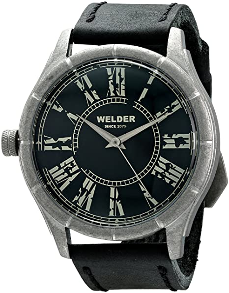 Welder 505 - Reloj de cuarzo unisex, correa de cuero color negro: Amazon.es: Relojes