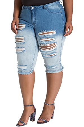def1baa66f Poetic Justice Plus Size Women's Curvy Fit Distressed Dip Dyed Bermuda  Shorts Size 14 Blue