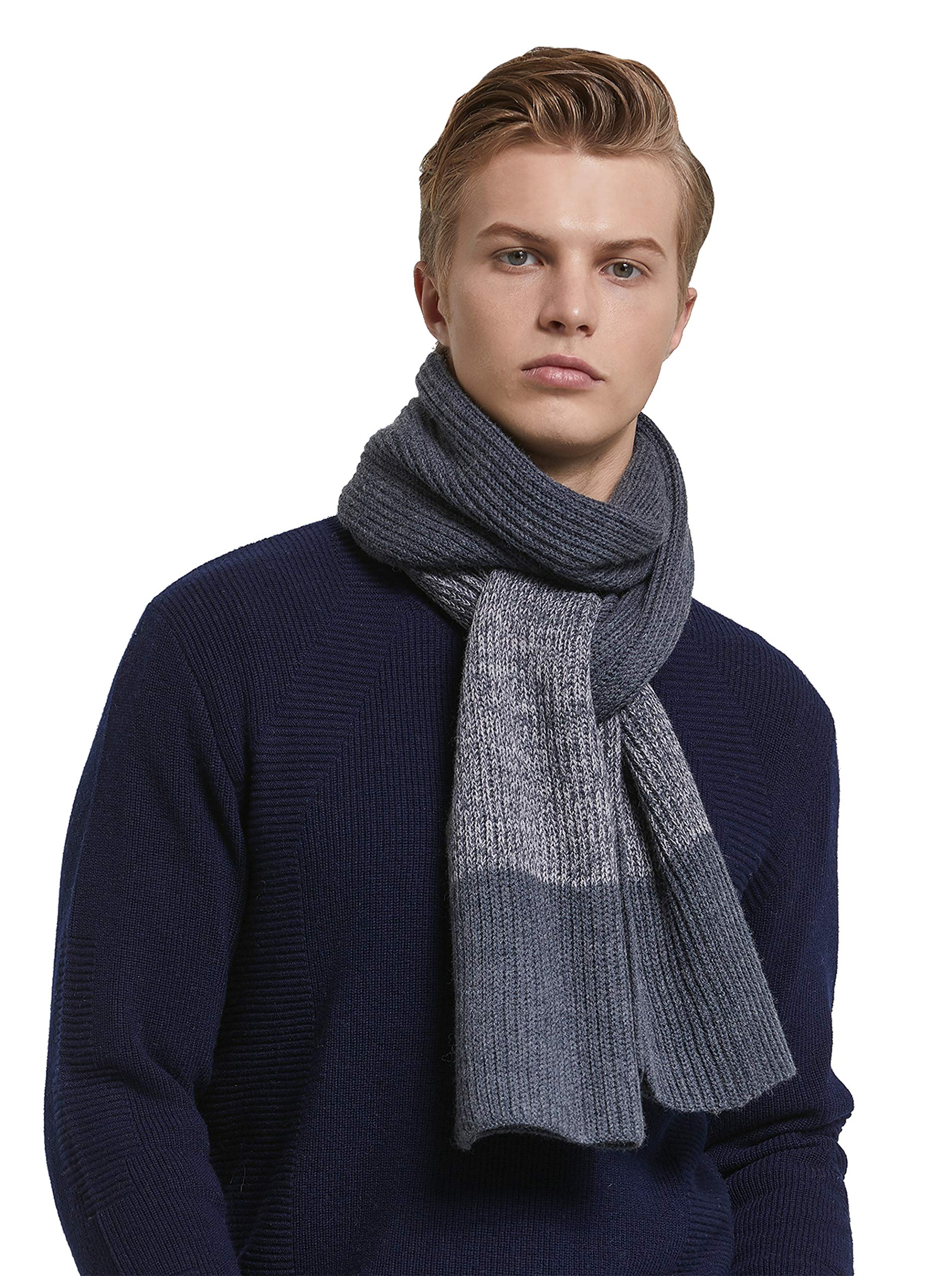 RIONA Men's Winter Cashmere Feel Australian Merino Wool Soft Warm Knitted Scarf with Gift Box (Grey)