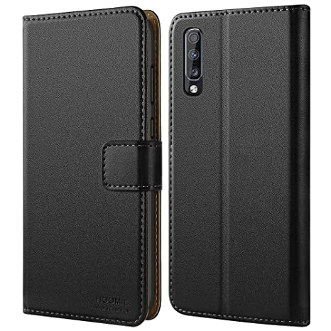 HOOMIL Funda Samsung A70, Funda Galaxy A70, Carcasa de Cuero PU Premium Funda Samsung Galaxy A70 Smartphone (Negro)