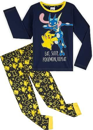 Pokèmon Pijama Niño, Pijamas Niños de Invierno con Camiseta Manga Larga y Pantalon en Algodon, Pijama Pikachu, Ropa Infantil, Regalos para Niños y Adolescentes