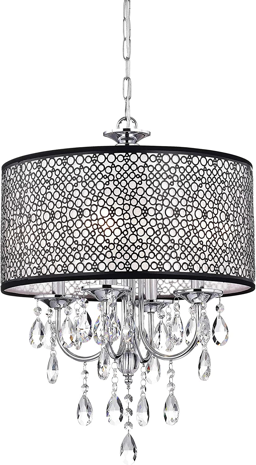 Indoor 4-Light Chrome Crystal Metal Bubble Shade Chandelier