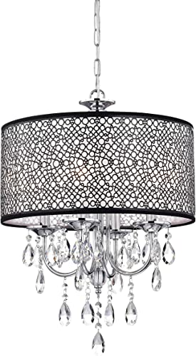 Indoor 4-Light Chrome/Crystal/Metal Bubble Shade Chandelier