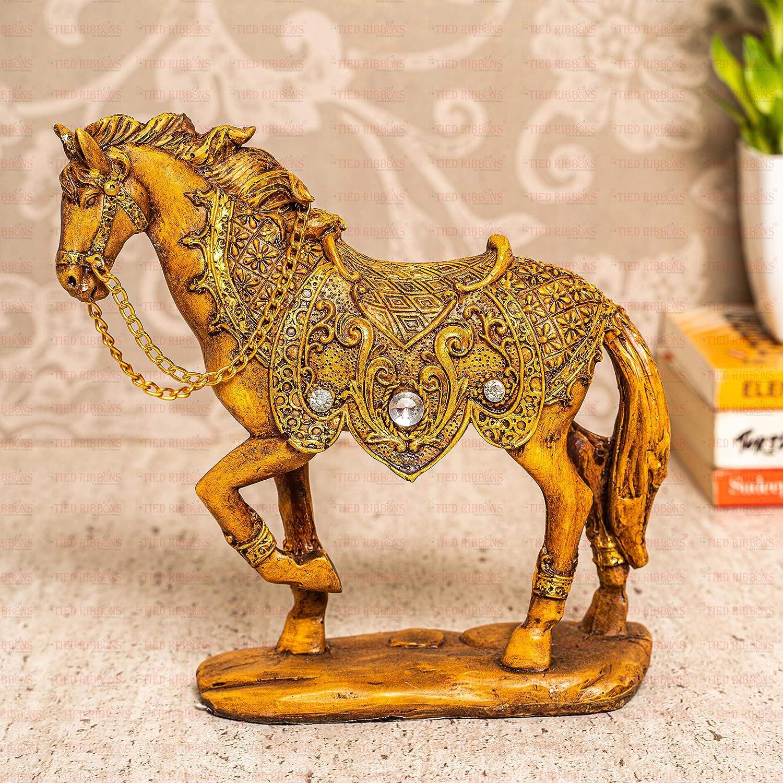 TIED RIBBONS Horse Resin Garden Statue Sculpture Figurine Collectible (15 cm X 18 cm)-Sculpture Home Office Decoration Tabletop Decor Shelf Ornaments