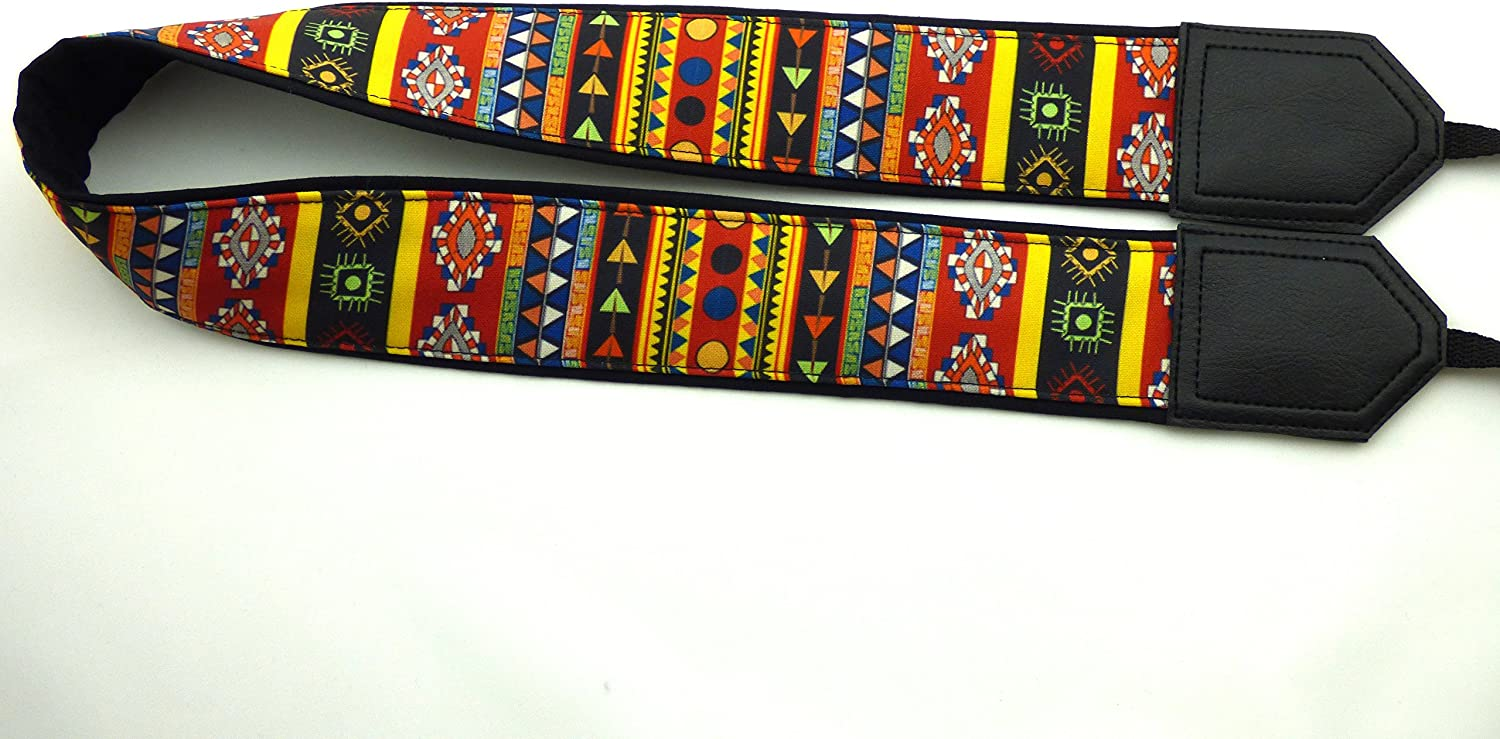 Black Tribal Camera Strap Durable Light Weight and Well Padded Camera Strap InTePro Aztec Camera Strap DSLR//SLR Camera Strap Colorful Indian Camera Strap Code 00044