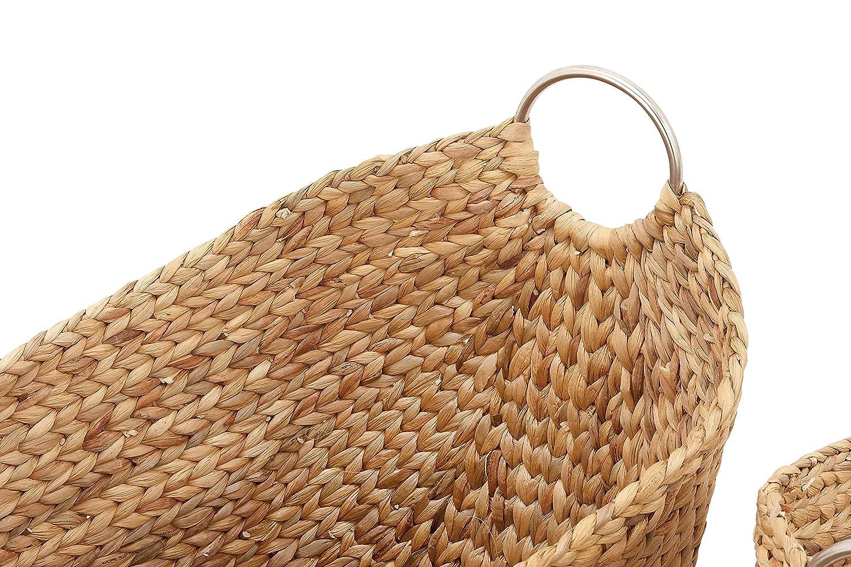 21 Natural Brown Finish Benzara Antique Colonial Designer Wicker Metal Basket Set of 4 19 16 and 14 L