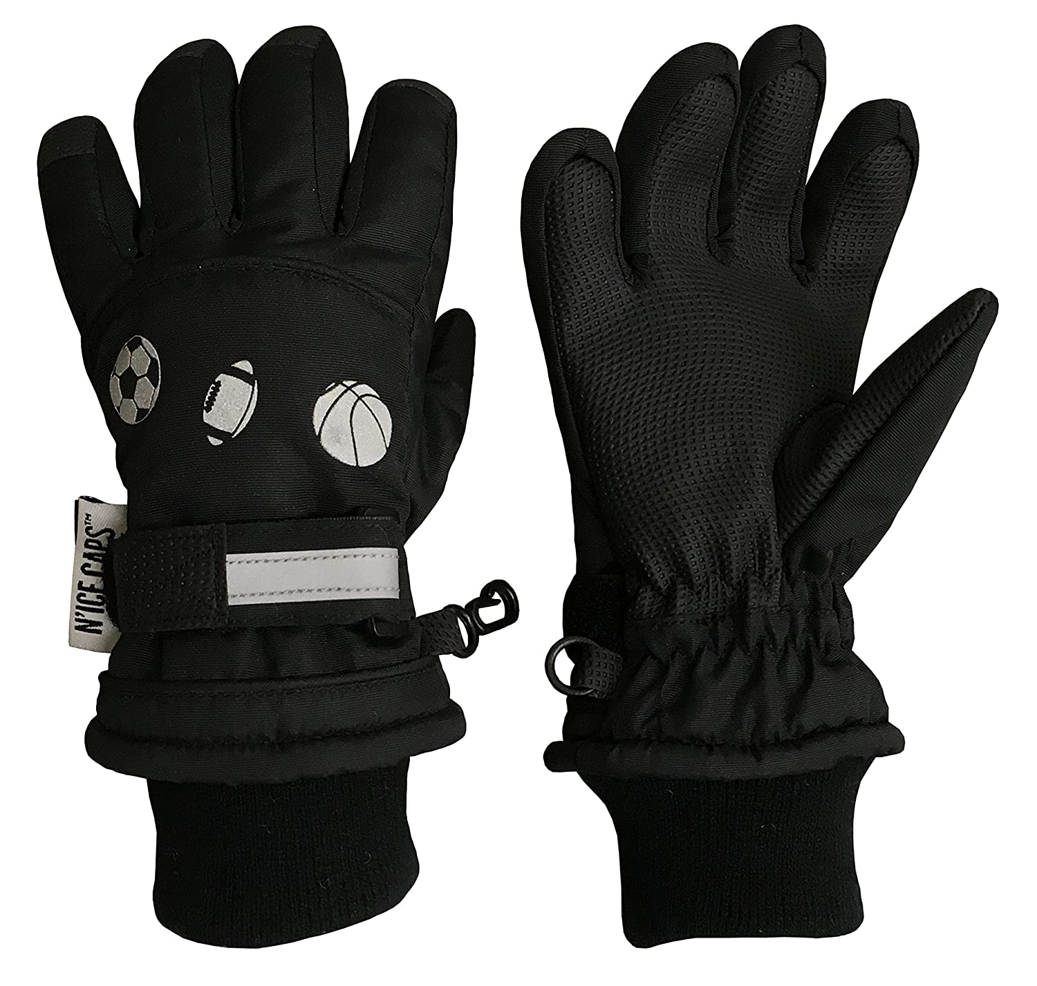 NIce Caps Little Boys Reflector Sports Balls Waterproof Thinsulate Snow Gloves