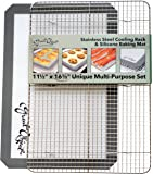 Premium Stainless Steel Cooling Rack & Silicone Baking Mat Cookware Set - Fits Standard Half Sheet Pan - Perfect for Cookies & Bacon - Gifts for Mom - Enhance Your Healthy Cooking