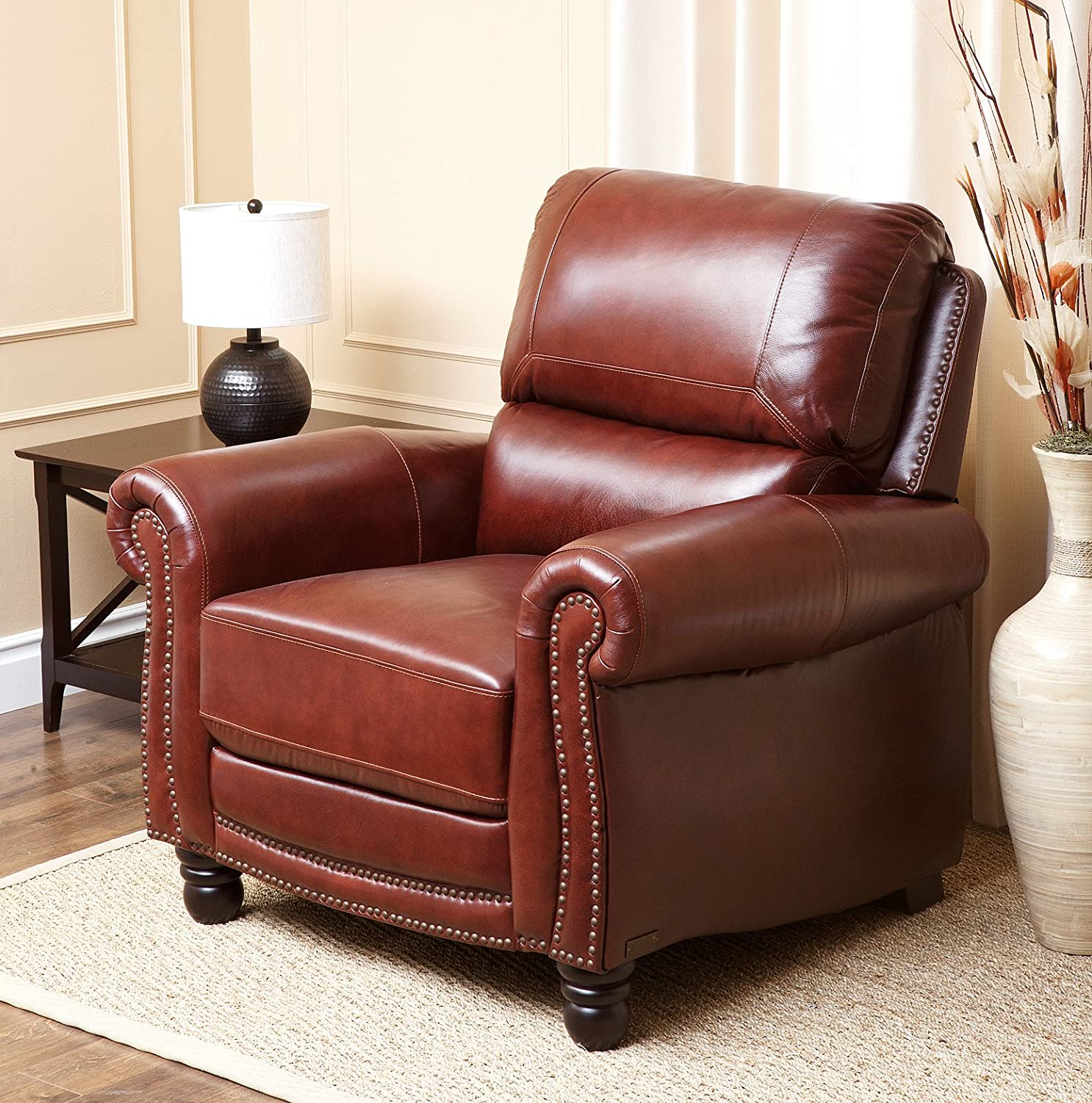 Amazon Abbyson Living Hand Rubbed Pushback Leather Baron