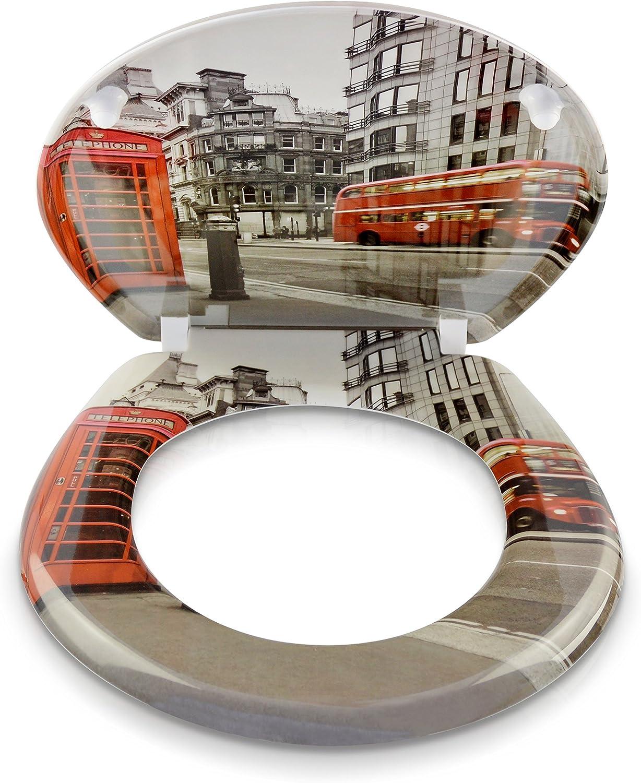 Bricolage Abattants Wc Modele Londres Couvercle De Toilette Avec Motif Et Kit De Montage Lunette De Toilette Avec Fermeture Amortie