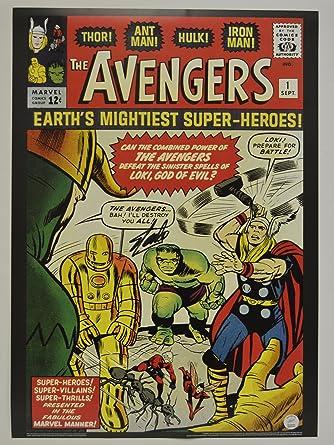 Stan Lee Signed AVENGERS 1 Comic Cover Vintage MARVEL 20x28 Poster Autographed Hologram