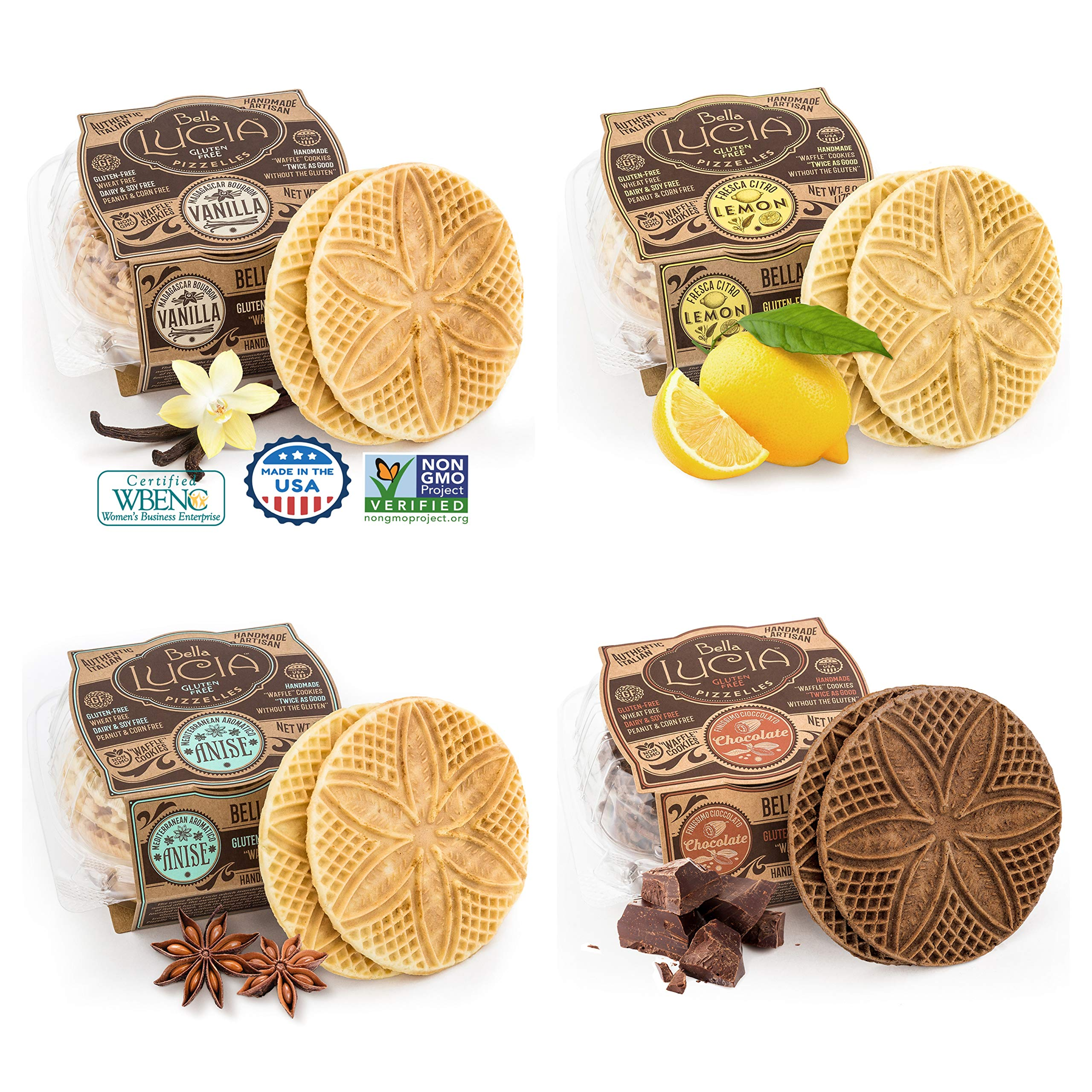Bella Lucia Gluten-Free, Nut Free, Soy Free Non-GMO Verified, Pizzelle Cookies 6 ounce (pack of 4), Variety Pack, Vanilla, Anise, Lemon, and Chocolate