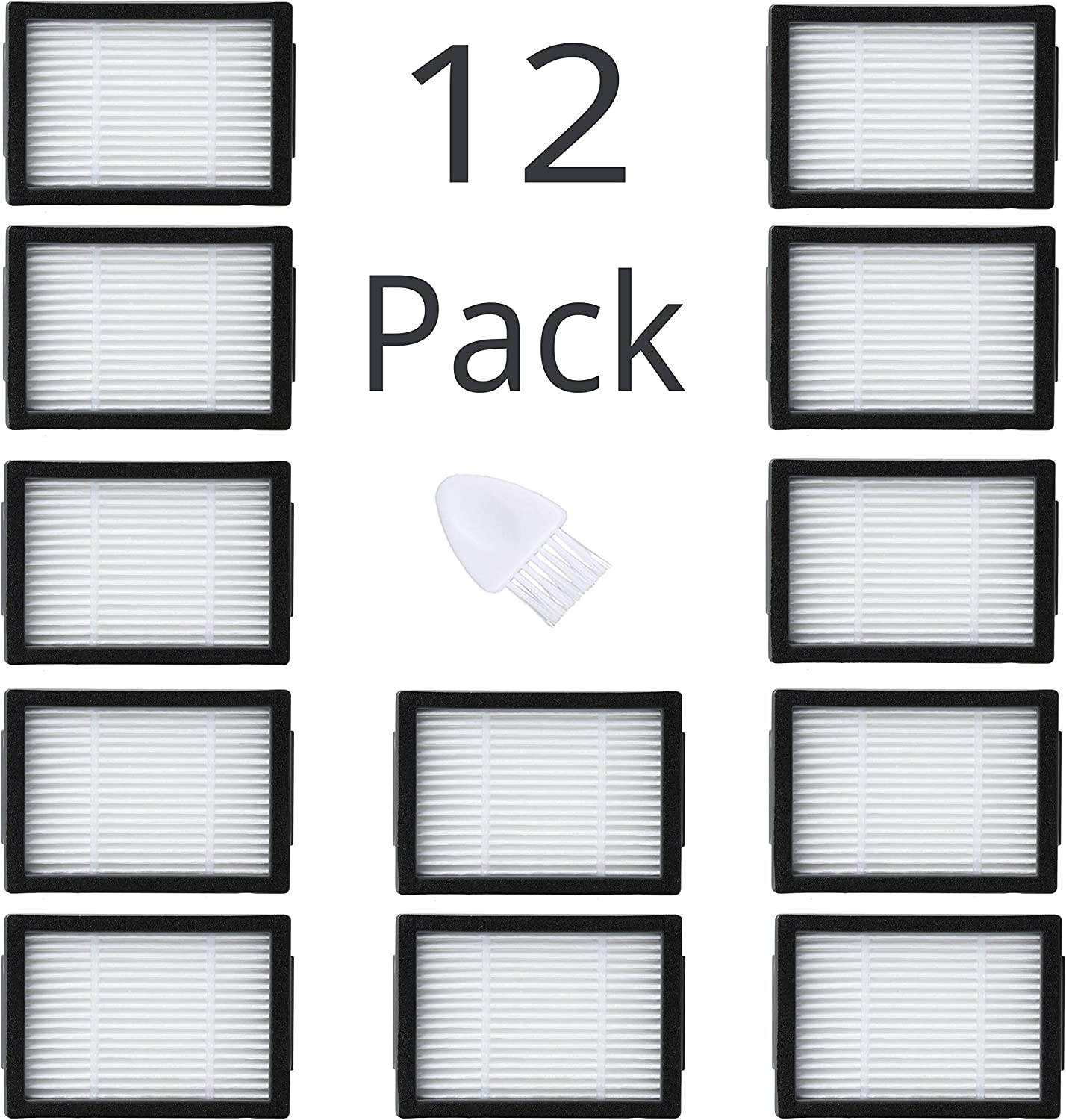 JoyBros 12-Pack Replacement High-Efficiency Filter Compatible for Roomba Vacuum Cleaner i e Series:i7 i7+/ Plus E5 E6 E7……