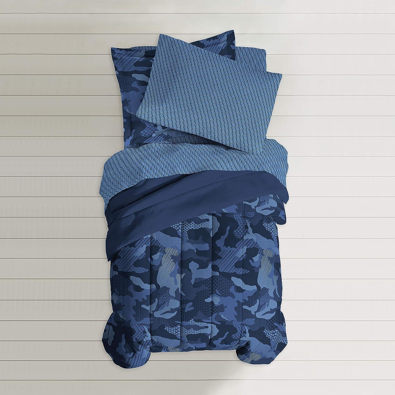 dream FACTORY Geo Camo Comforter Set, Full, Blue