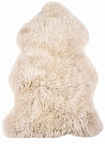 Natural Thick and Lush 2.5 inch Pile Anti-Skid Backing Hypo-Allergenic Premium Quality New Zealand Sheepskin Wool Area Rug, Taupe, 2 ft x 3 ft