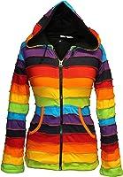 Shopoholic Fashion Fleece lined Rainbow pixie hood warm jacket