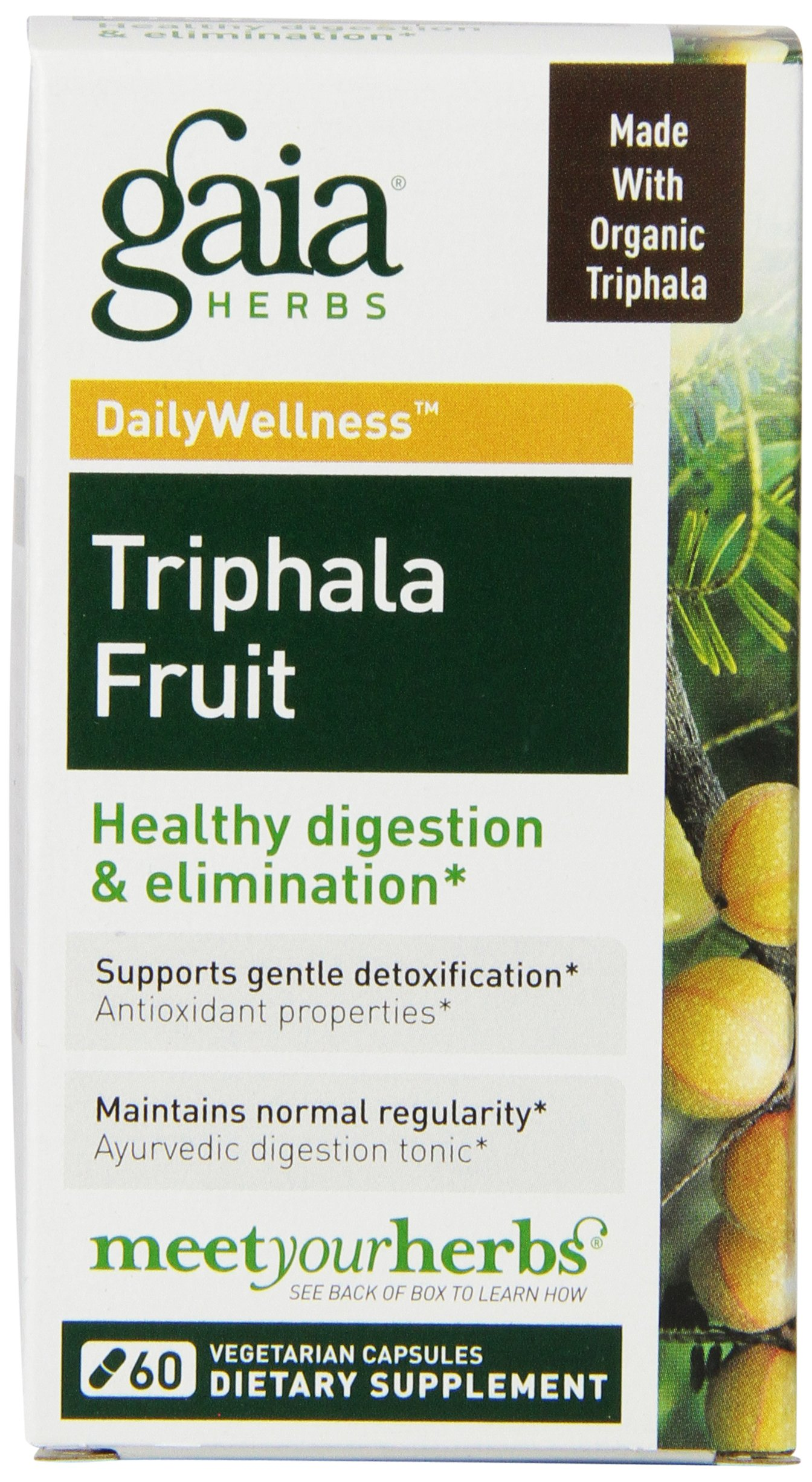 Gaia Herbs Triphala Fruit Vegan Liquid Capsules, 60 Count - Gentle Daily Detox and Colon Cleanse, Organic Ayurvedic Formula for Healthy Digestion, Circulation and Liver Support