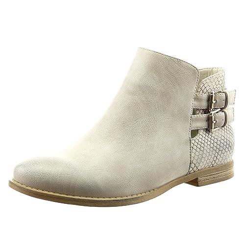 Sopily - Zapatillas de Moda Botines chelsea boots abierto Tobillo mujer piel de serpiente tanga Hebilla
